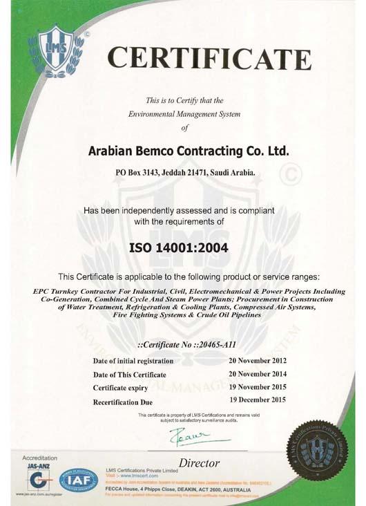 Arabian Bemco Contracting Co Ltd Certifications